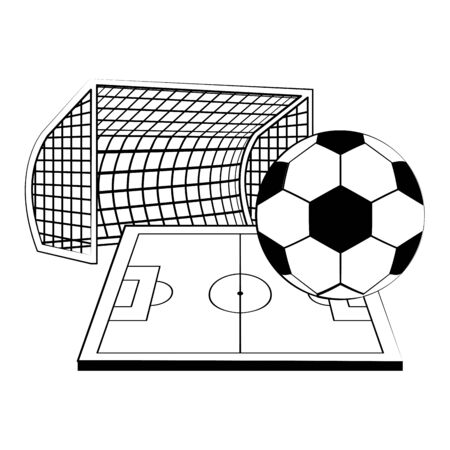 Soccer football sport game goal and playfield with ball vector illustration graphic design