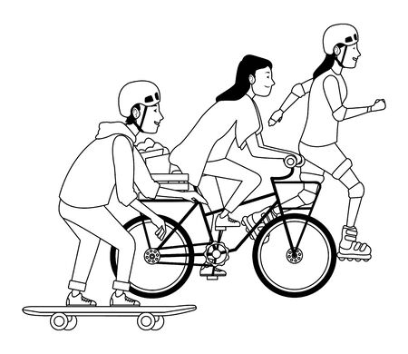 Young people riding with bicycles skateboard and rolling skates weating accesories ,vector illustration graphic design.