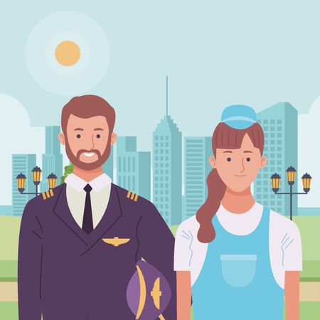Professionals workers pilot and pumbler with toolbox smiling cartoons in the city urban scenery ,vector illustration graphic design. Stock Illustratie