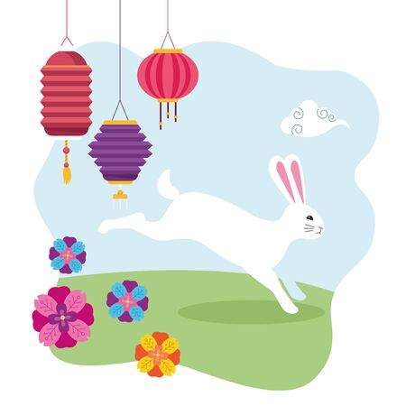 mid autumn chinese festival cute rabbit with oriental lanterns and flowers in outdoor scene cartoon vector illustration graphic design Ilustrace