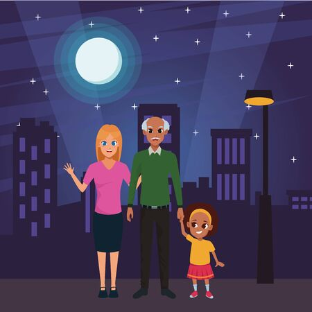 Family afro grandfather with daughter and granddaughter in the city urban scenery background at night ,vector illustration graphic design. Illusztráció