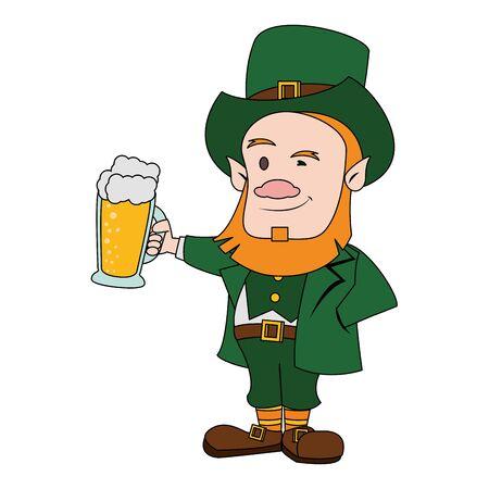 saint patricks day irish tradition green leprechaun with beer cartoon vector illustration graphic design Иллюстрация