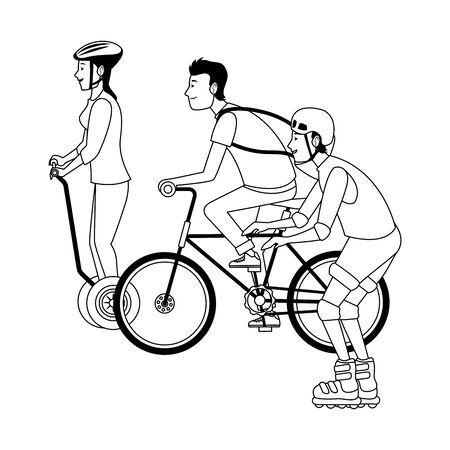 Young people riding with bike rolling skates and electric scooter ,vector illustration graphic design.