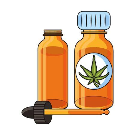 cannabis marijuana medical marijuana medicine sativa hemp oil bottles cartoon vector illustration graphic design Çizim