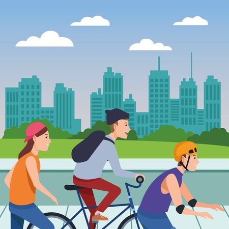 Young people riding with bicycles skateboard and rolling skates weating accesories in the city ,vector illustration graphic design.