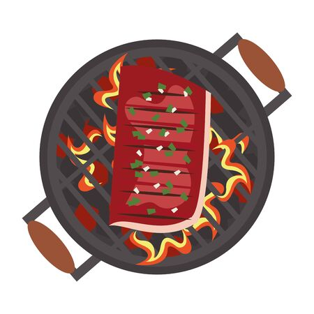 Barbecue food beef steak on grill topview vector illustration graphic design