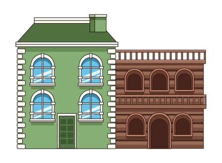 Urban antique edifice building with wooden house real estates vector illustration graphic design. Vectores