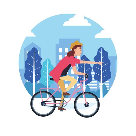 sport outdoor sportive bicycle ride activity, woman riding with bicycle in urban city park cartoon vector illustration graphic design 向量圖像