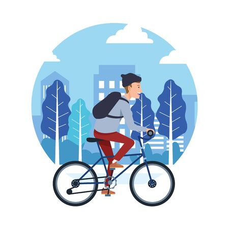 sport outdoor sportive bicycle ride activity, riding with bicycle in urban city park cartoon vector illustration graphic design