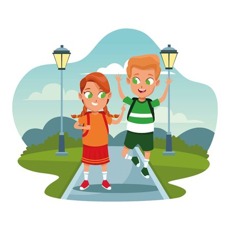 School boy and girl friends with backpacks at streets scenery cartoons on splash frame vector illustration graphic design