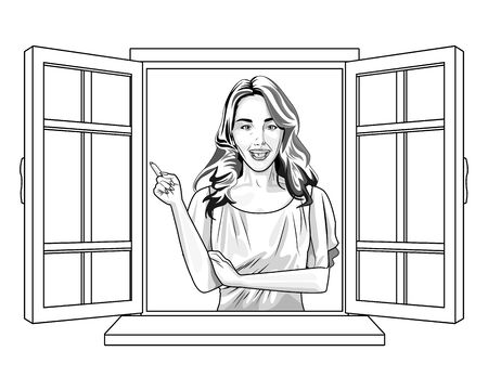Pop art beautiful woman smiling with casual clothes cartoon looking from the window ,vector illustration graphic design.
