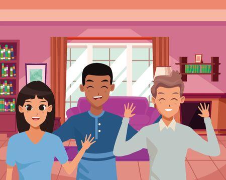 Family three friend smiling inside home vector illustration graphic design Stock Illustratie