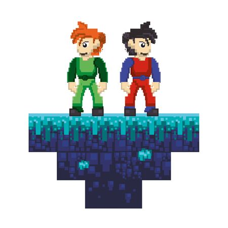 videogame pixelated retro art digital entertainment, arcade characters partners cartoon vector illustration graphic design