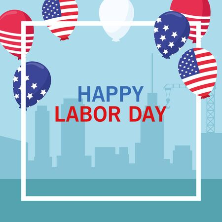 labor day usa celebration american patriotic card, tribute to builder people workers heavy work with city background cartoon vector illustration graphic design