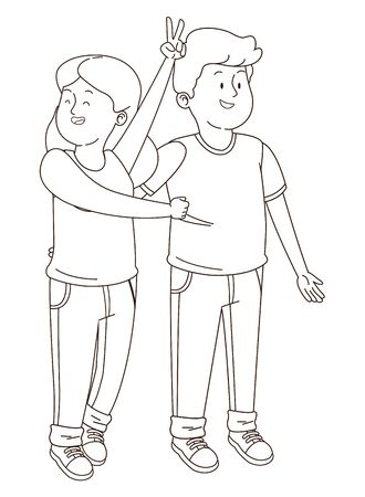 teenager friends boy and girl smilng and greeting isolated,vector illustration graphic design.