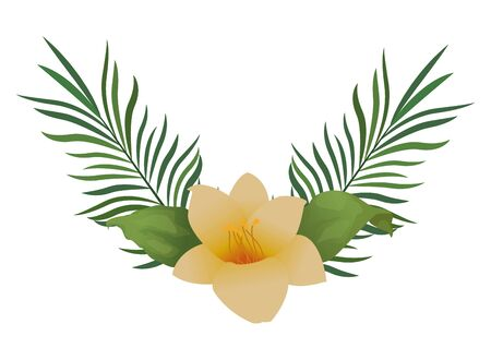 Tropical flower and palm leaves cartoon ,vector illustration graphic design. Illusztráció