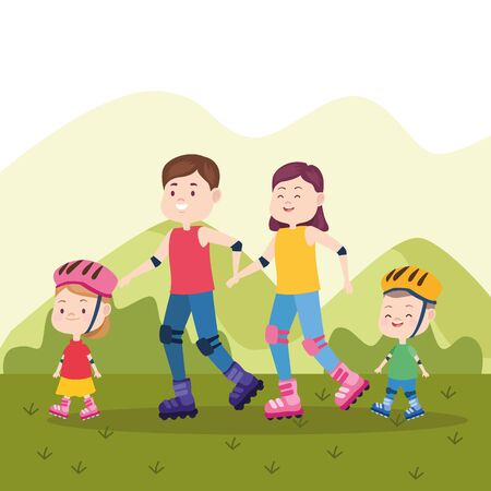 Family father and mother having fun with childrens with skates at park vector illustration graphic.
