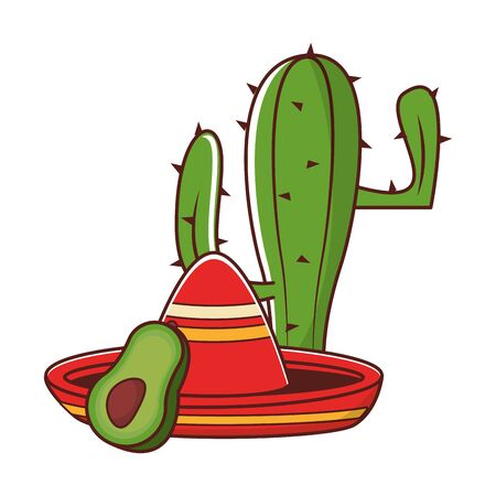 mexico culture and foods cartoons cactus and avocado also mariachi hat vector illustration graphic design