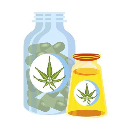 cannabis marijuana medical marijuana medicine sativa hemp oil and pills bottles cartoon vector illustration graphic design