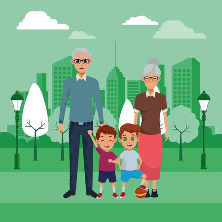 Family grandparents taking care grandchildren cartoons on colorful cityscape background ,vector illustration graphic design. Illusztráció