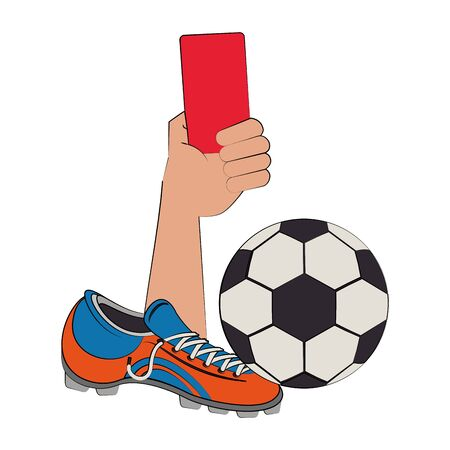 Soccer football sport game referee hands holding card and ball with boot vector illustration graphic design