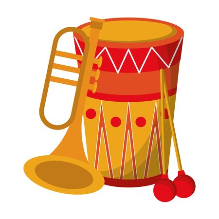 music instrument musical drum and trumpet objects cartoon vector illustration graphic design
