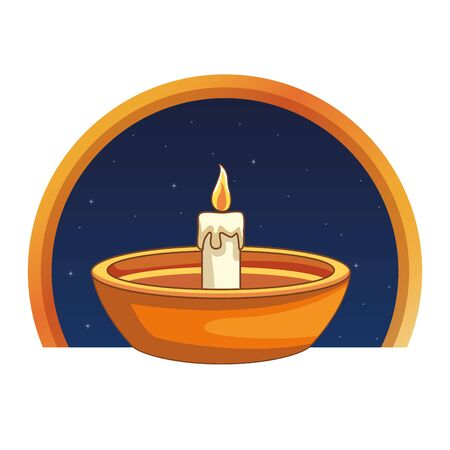 Candle in bowl at night cartoon on round emblem vector illustration graphic design