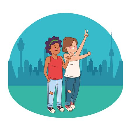 Teenagers friends girls smiling cartoon in the city park, urban cityscape scenery background ,vector illustration graphic design.  イラスト・ベクター素材