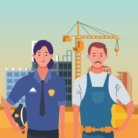 labor day employment occupation national celebration,police woman with builder man workers in front city construction view cartoon vector illustration graphic design