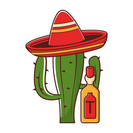 mexico culture and foods cartoons tequila bottle and cactus on mariachi hat vector illustration graphic design  イラスト・ベクター素材