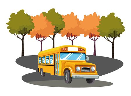 School bus passing by park scenery vector illustration graphic design Banque d'images - 129473963