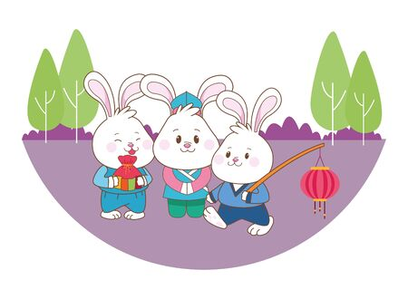 Rabbits celebrating mid autumn festival with lantern and gift bag cartoons in the forest, landscape background ,vector illustration graphic design.