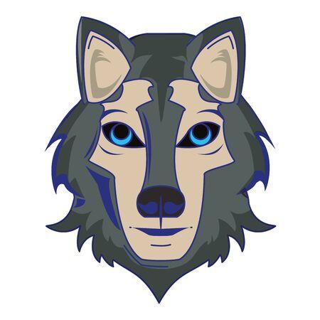 Wolf wildlife animal head cartoon isolated vector illustration graphic design