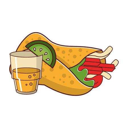 mexico culture and foods cartoons glass and lemon cut on the edge also burrito vector illustration graphic design