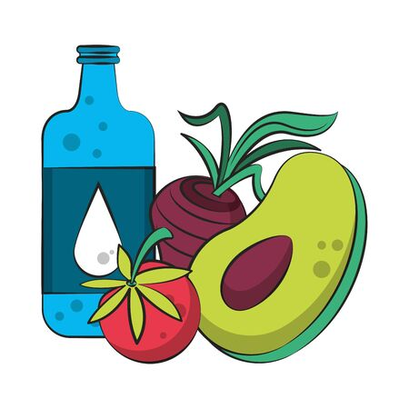 healthy diet nutrition eating lifestyle, vegan and organic objects cartoon vector illustration graphic design Ilustracja