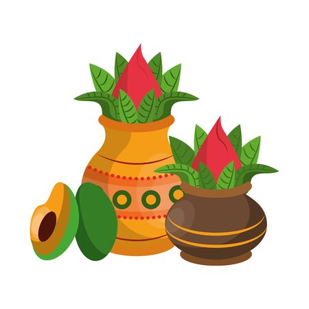 Ugadi festival offering flowers pot with avocado cartoons vector illustration graphic design