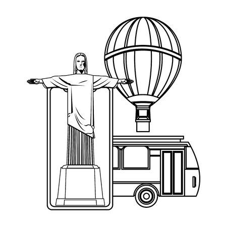 Travel vacations redemeer christ on smartphone with bus and hot air balloon cartoons vector illustration graphic design