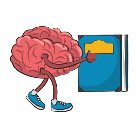 Brain walking with shoes and holding book cartoon vector illustration graphic design