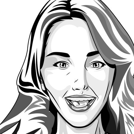 Pop art beautiful woman face smiling ,vector illustration graphic design.