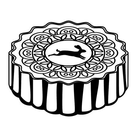 Delicious mooncake mid autumn food isometric cartoon ,vector illustration graphic design.