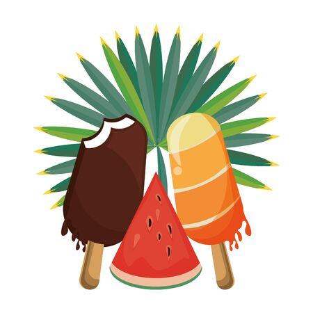 ice cream and watermelon icon cartoon isolated vector illustration graphic design Archivio Fotografico - 129474236