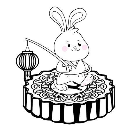 Mid autumn cute rabbit with paper lantern on isometric mooncake ,vector illustration graphic design.
