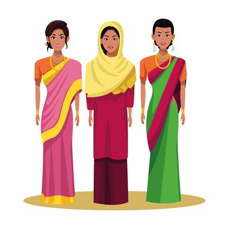 indian indian woman wearing traditional hindu clothes women wearing sari and jewelry and woman wearing hiyab profile picture avatar cartoon character portrait vector illustration graphic design