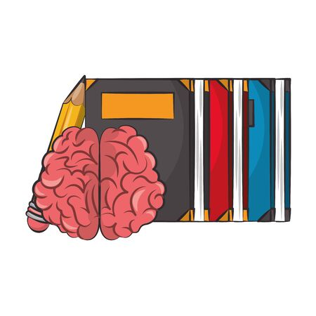 Brain and pencil with books cartoons vector illustration graphic design