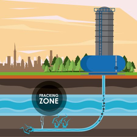Fracking zone, oil pump with water tank extracting petroleum from subsoil with pipes. vector illustration graphic design Ilustração