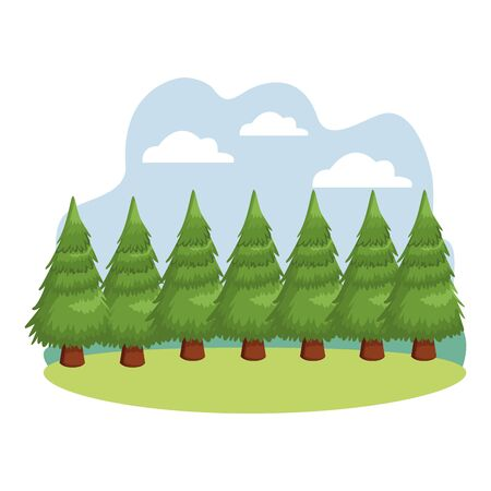 Tree pine nature cartoon nature outdoors scenery background ,vector illustration graphic design.