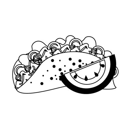 mexico culture and foods cartoons taco and cut lemon vector illustration graphic design