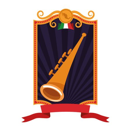 mexican food and traditional culture with trumpet icon cartoon with square frame, ribbon banner and mexican flag vector illustration graphic design