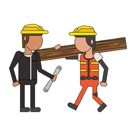 Construction worker with wooden plank and architect with plans cartoons