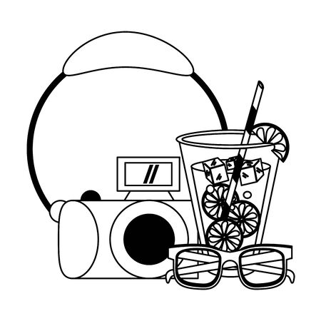 Lemonade with sunglasses and camera cartoons vector illustration graphic design